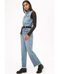 Forever 21 - Women's Sleeveless Frayed-hem Denim Jumpsuit - Lyst