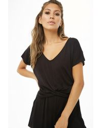 6b854db2e18 Forever 21 - Heathered Knit Twist-front Romper - Lyst