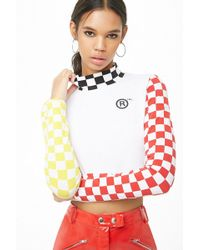 Forever 21 - Chequered Mock Neck Graphic Top - Lyst