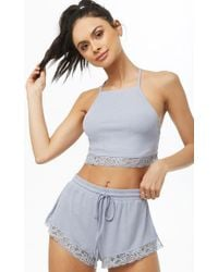 Forever 21 - Women's Ribbed Lace-trim Lingerie Set - Lyst