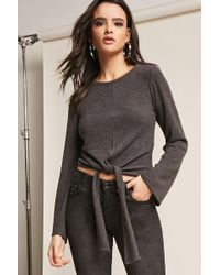 Forever 21 - Heathered Tie-front Knit Top - Lyst