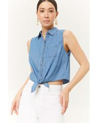 Forever 21 - Chambray Tie-front Shirt - Lyst