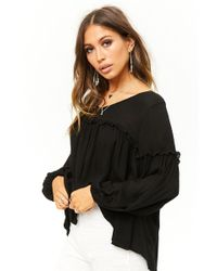 Forever 21 - High-low Lettuce-trim Top - Lyst