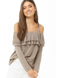 Forever 21 - Knit Tiered-flounce Open-shoulder Top , Mocha - Lyst