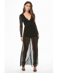 Forever 21 - Plunging Mesh Maxi Dress - Lyst