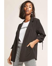 Forever 21 - Crepe Ruched-sleeve Blazer - Lyst