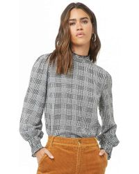 95a00c12297 Lyst - Foxcroft Exploded Glen Plaid Tunic Shirt in Blue
