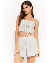 Forever 21 - Polka Dot Tie-front Cropped Cami & Pleated Skirt Set - Lyst