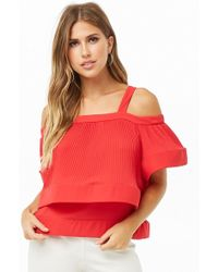 Forever 21 - Tiered Accordion-pleat Open-shoulder Top - Lyst