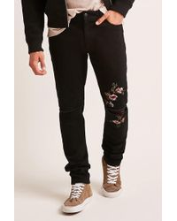 Forever 21 | Floral Denim Pants | Lyst