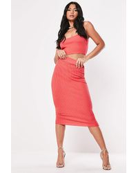 Missguided - Ribbed Knit Skirt At , Coral - Lyst