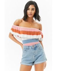 06d9a4a585 Lyst - Forever 21 Women s Flounce Crop Tube Top in White