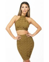 Forever 21 - Lattice Bandage Crop Top & Skirt Set - Lyst