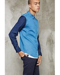 Forever 21 - 's Colorblocked Chambray Shirt - Lyst