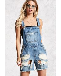 Forever 21 - Distressed Denim Dungarees Shorts - Lyst