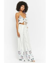 Forever 21 - Floral Striped Crop Top & High-rise Trousers Set - Lyst