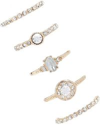 Forever 21 - Rhinestone Ring Set , Gold/clear - Lyst