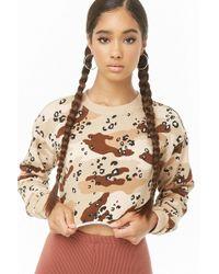 47c0652768fb Forever 21 - Camo Leopard Print Cropped Sweatshirt - Lyst
