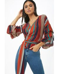 Forever 21 - Sheer Multicolor Striped Wraparound Top - Lyst