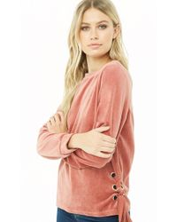 048ae5611388ea Forever 21 - Lace-up Velour Top - Lyst