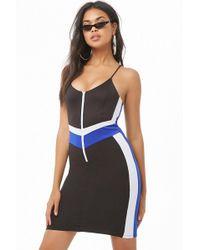 Forever 21 - Colorblock Zip-front Mini Dress , Black/multi - Lyst