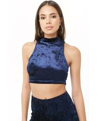 c8ad721f4f6 Forever 21 Crushed Velvet Crop Top in Black - Lyst