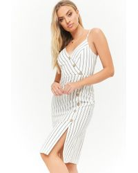Forever 21 - Striped Asymmetrical Button-front Cami Dress - Lyst