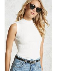 Forever 21 | Ribbed Mock Neck Top | Lyst