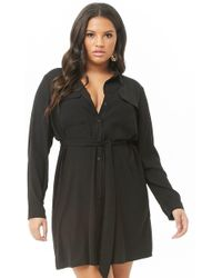 a18cd6ebb272d Forever 21 - Women's Plus Size Belted Shirt Dress - Lyst