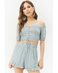 Forever 21 - Embroidered Crop Top & Shorts Set - Lyst