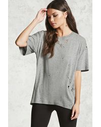 Forever 21 - Distressed Oversized Tee - Lyst