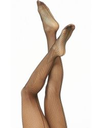 27c5081b94fff Forever 21 Crotchless Fishnet Tights in Black - Lyst