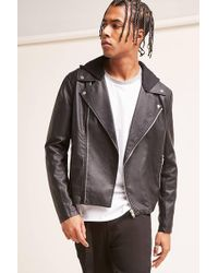 Forever 21 | Faux Leather Hooded Jacket | Lyst