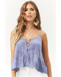 Forever 21 - Oil Wash Crisscross Ruffle Cami - Lyst