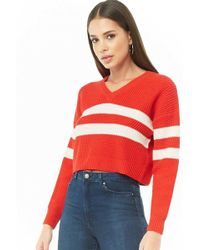 Forever 21 - Varsity Striped Cropped Sweater - Lyst