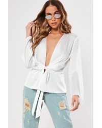 Missguided - Plunging Tie-front Top At - Lyst