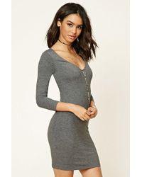 Forever 21 - V-neck Bodycon Dress - Lyst