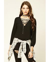 Forever 21 - V-neck Lace-up Blouse - Lyst