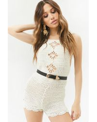 03306430ebd Lyst - Forever 21 Strappy Crochet-paneled Romper in Natural