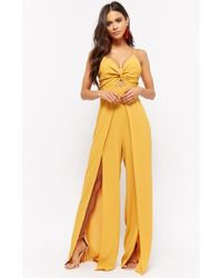 82d31b072aa Forever 21 - Crinkled Twist-front Cutout Overlay Jumpsuit - Lyst