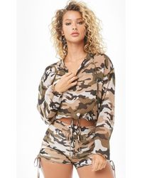Forever 21 - Sheer Camo Top & Shorts Set - Lyst