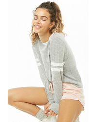 Forever 21 - Women's Varsity-striped Marled Knit Top - Lyst