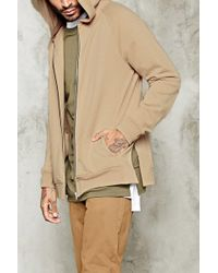 Forever 21 - 's Side-slit Zippered Hoodie - Lyst