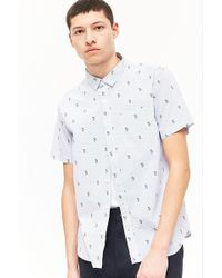 Forever 21 - Palm Tree Print Pinstriped Shirt - Lyst