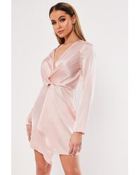 Missguided - Plunging Satin Dress At - Lyst