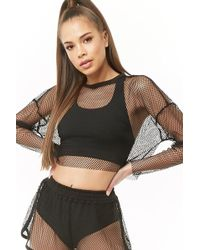 2a197af398 Lyst - Free People Chunky Fishnet Long Sleeve Top in White