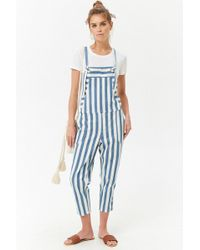 Forever 21 - Striped Denim Dungarees - Lyst