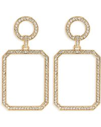 Forever 21 Circle Square Drop Earrings , Gold/clear