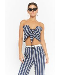 Forever 21 - Striped Tie-front Crop Top - Lyst