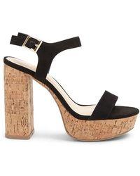 7228cb0951 Forever 21 Faux Suede Platform Sandals in Black - Lyst